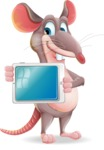 Cartoon Funny Mouse Vector Character - Holding tablet