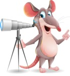 Cartoon Funny Mouse Vector Character - Looking through telescope