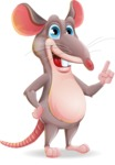 Cartoon Funny Mouse Vector Character - Making a point