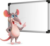 Cartoon Funny Mouse Vector Character - Making a Presentation on a Blank white board