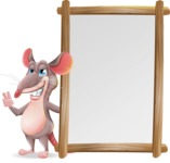 Cartoon Funny Mouse Vector Character - Making peace sign with Big Presentation board