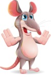 Cartoon Funny Mouse Vector Character - Making stop gesture with both hands