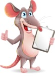 Cartoon Funny Mouse Vector Character - Making thumbs up with notepad