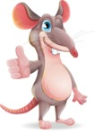 Cartoon Funny Mouse Vector Character - Making Thumbs Up