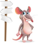 Cartoon Funny Mouse Vector Character - on a Crossroad with sign pointing in all directions