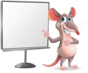 Cartoon Funny Mouse Vector Character - Pointing on a Blank whiteboard