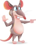 Cartoon Funny Mouse Vector Character - Pointing with a fnger