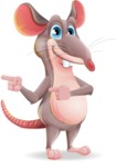 Cartoon Funny Mouse Vector Character - Pointing with both hands