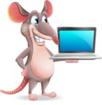 Cartoon Funny Mouse Vector Character - Presenting on laptop
