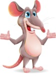 Cartoon Funny Mouse Vector Character - Presenting with both hands