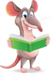 Cartoon Funny Mouse Vector Character - Reading a book
