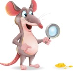 Cartoon Funny Mouse Vector Character - Searching with magnifying glass