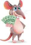 Cartoon Funny Mouse Vector Character - Show me the Money