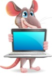 Cartoon Funny Mouse Vector Character - Showing a laptop