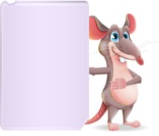Cartoon Funny Mouse Vector Character - Showing Big Blank banner