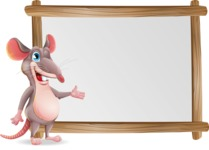 Cartoon Funny Mouse Vector Character - Showing on Big whiteboard