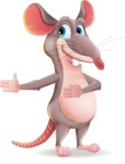 Cartoon Funny Mouse Vector Character - Showing with right hand