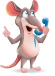 Cartoon Funny Mouse Vector Character - Talking on phone