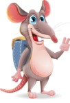 Cartoon Funny Mouse Vector Character - Traveling