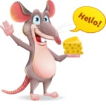 Cartoon Funny Mouse Vector Character - Waving for Hello with a hand
