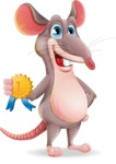 Cartoon Funny Mouse Vector Character - Winning prize