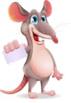 Cartoon Funny Mouse Vector Character - with a Blank Business card