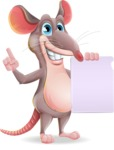Cartoon Funny Mouse Vector Character - with a Blank paper