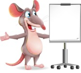Cartoon Funny Mouse Vector Character - with a Blank Presentation board