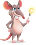 Cartoon Funny Mouse Vector Character - with a Light bulb