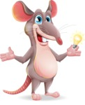 Cartoon Funny Mouse Vector Character - with an Idea