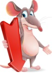 Cartoon Funny Mouse Vector Character - with Arrow going Down
