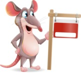 Cartoon Funny Mouse Vector Character - with Blank Real estate sign