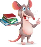 Cartoon Funny Mouse Vector Character - with Books