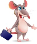 Cartoon Funny Mouse Vector Character - with Briefcase