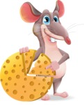 Cartoon Funny Mouse Vector Character - with Business graph