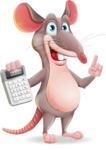 Cartoon Funny Mouse Vector Character - with Calculator