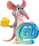Cartoon Funny Mouse Vector Character - with Email sign