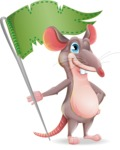 Cartoon Funny Mouse Vector Character - with Flag