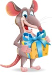 Cartoon Funny Mouse Vector Character - with Gift box