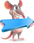 Cartoon Funny Mouse Vector Character - with Positive arrow