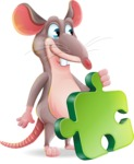 Cartoon Funny Mouse Vector Character - with Puzzle