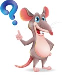 Cartoon Funny Mouse Vector Character - with Question mark