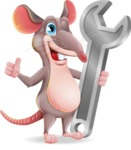 Cartoon Funny Mouse Vector Character - with Repairing tool wrench