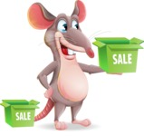Cartoon Funny Mouse Vector Character - with Sale boxes