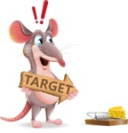 Cartoon Funny Mouse Vector Character - with Target