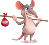 Cartoon Funny Mouse Vector Character - with Traveling bag