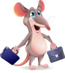 Cartoon Funny Mouse Vector Character - with Two briefcases