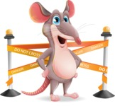 Cartoon Funny Mouse Vector Character - with Under Construction sign