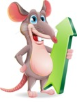 Cartoon Funny Mouse Vector Character - with Up arrow