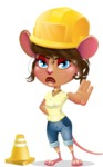 Cute Female Mouse Cartoon Vector Character - as a Construction worker